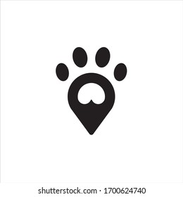 dog cat paw logo search find pet company with minimal pin location icon vector illustration