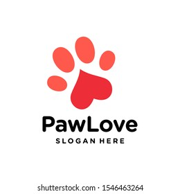 dog cat paw logo vector with love heart icon in trendy minimal style illustration