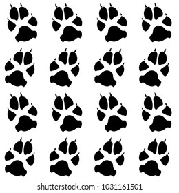 Dog or cat paw white footprint, isolated on black back layer.  Doggo, puppy or kitten foot steps vector contour. Cute animal backdrop of paw foot print for illustration or interior design.