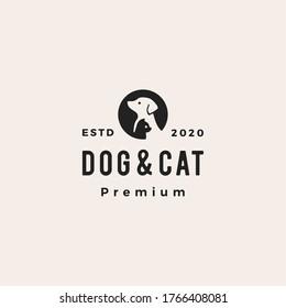 dog cat pet hipster vintage logo vector icon illustration