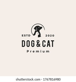 dog cat pet hipster vintage logo vector icon illustration