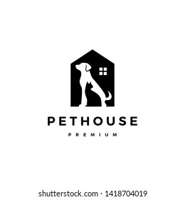 dog cat pet house home logo vector icon negative space