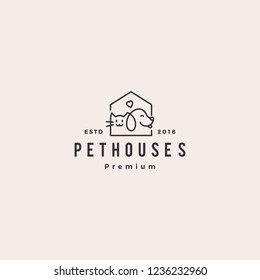 dog cat pet house shop logo vector hipster retro vintage illustration