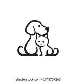 Dog and Cat Pet Shop Vector Logo Template. This logo could be use  as logo of pet shop, pet clinic, or others