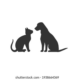 Dog and cat silhouette isolated on white background. Animals concept logo. Vector stock
