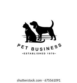 Dog and Cat silhouette logo for pet business, pet sitter, breeder, dog walker, veterinarian, shelter, rescue. EPS 10 vector.
