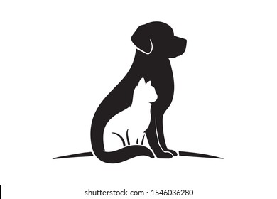 Dog and Cat silhouette and pet shop Logo Design