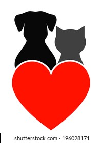 dog, cat silhouette and red heart on white background