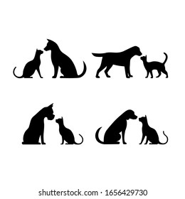 Dog and cat silhouette vector illustration