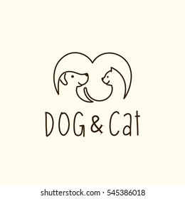 Dog and Cat simple logo template. soft background. vector illustrator eps.10