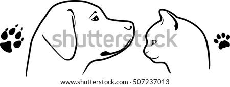 dog-cat-their-footprints-vector-450w-507