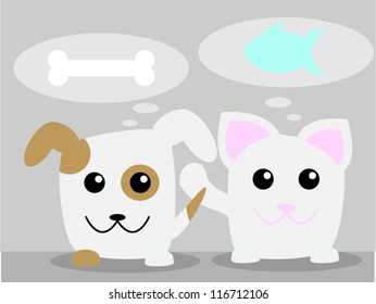 Dog and cat thinking about food