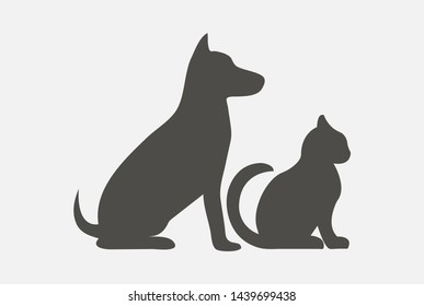 Dog and cat vector icon. Fill vector illustration