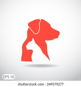 Dog and cat veterinary vector icon