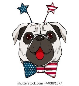 Dog celebrating 4th of July showing big red tongue and stars headband accessory with United States flag