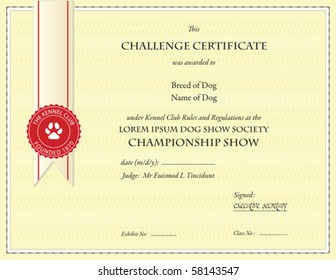 dog championship certificate template