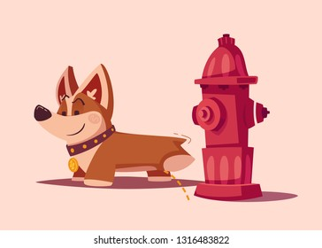 Dog character. Best friend. Cartoon vector illustration. Cute puppy. Funny corgi pees on a hydrant