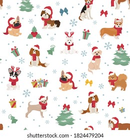 Dog characters in Santa hats and scarves. Christmas holiday seamless pattern design. Vector illustration