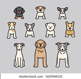 Dog characters of various brands. Dogs are standing in front of you. flat design style minimal vector illustration.