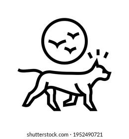 dog chasing birds line icon vector. dog chasing birds sign. isolated contour symbol black illustration