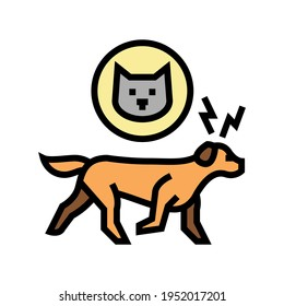 dog chasing cat color icon vector. dog chasing cat sign. isolated symbol illustration