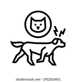 dog chasing cat line icon vector. dog chasing cat sign. isolated contour symbol black illustration