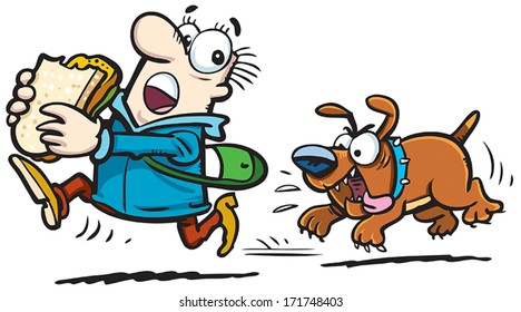 Dogs Chasing Man Images, Stock Photos & Vectors | Shutterstock