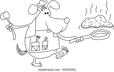 Dog chef cooks pancakes, holding a frying pan, throwing pancakes in the other hand holds the ladle, black-and-white picture on a transparent background