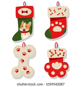 Dog Christmas stocking icons collection. Socks for puppy vector cartoon flat set isolated on a white background.