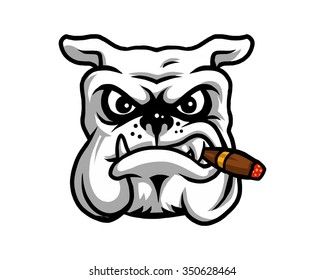 dog cigar head character illustration logo icon vector