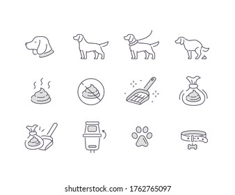Dog Clean up Icons. Dog Poops Cleaning Signs. Plastic Bag with Fences, Scoop,  Dog Waste Station and Other Items for Pet Care. Flat Line Vector Illustration and Icons Set.