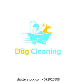 Dog Cleaning Service Logo Vector in Blue and Orange