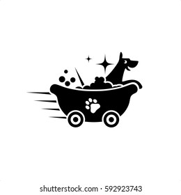 Dog Cleaning Service Logo Vector
