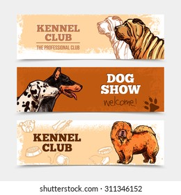 Dog club horizontal banners set with hand drawn breeds isolated vector illustration