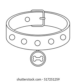 Dog collar icon in outline style isolated on white background. Dog symbol stock vector illustration.