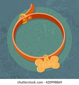 Dog Collar Icon. Pet Dog Chains/Orange Collar for dogs in style flat on textural background. Bone pet charm