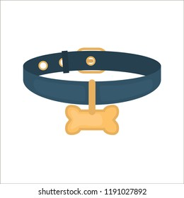 Dog collar with medalion color vector icon. Flat design
