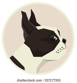 Dog collection Boston Terrier Geometric style icon round