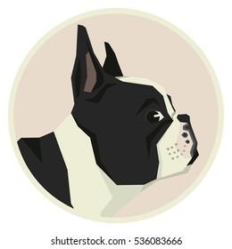 Dog collection French Bulldog Geometric style icon round