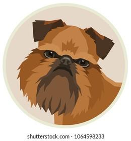 Dog collection Griffon Bruxellois Geometric style Avatar icon round