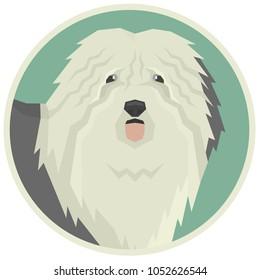 Dog collection Old English Sheepdog Geometric style Avatar icon round