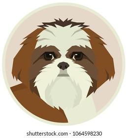 Dog collection Shih Tzu Geometric style Avatar icon round