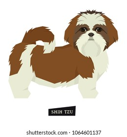 Dog collection Shih Tzu Geometric style Isolated object