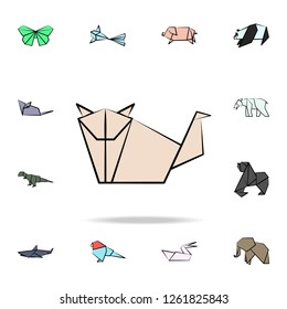 dog colored origami icon. Detailed set of origami animal in hand drawn style icons. Premium graphic design. One of the collection icons for websites, web design, mobile app