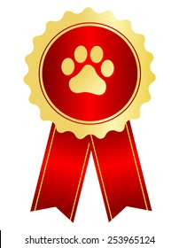 Dog competition winner gold award ribbon / stamp seal with red ribbon and paw print on center