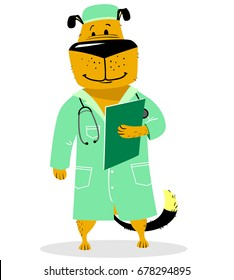 Dog in costume of doctor. Pet as a vet with with a stethoscope and lab coat. Cartoon character Dog like human in veterinary. Vector illustration with cute animal