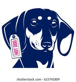 Dog Dachshund Hot Dog. Vector Illustration