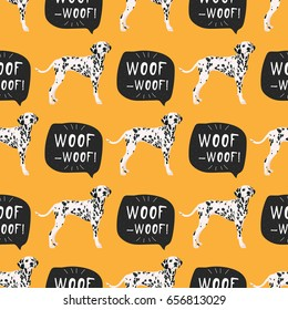 Dog dalmatian seamless pattern colorful with hand drawn banner woof-woof