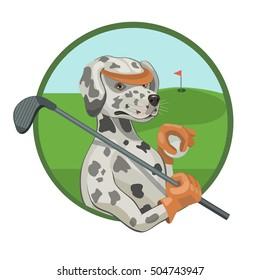 Dog Dalmatians playing Golf