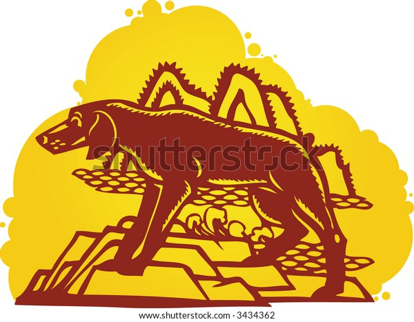 DOG design in Chinese traditional Paper Cut style (Vector)